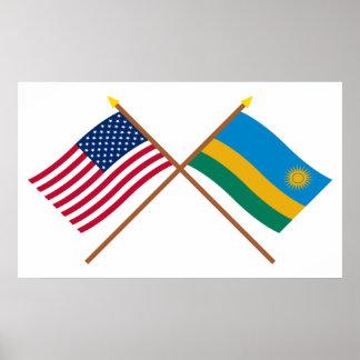 Los E E U U y banderas cruzadas Rwanda Impresiones