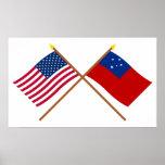 Los E.E.U.U. y banderas cruzadas Samoa Impresiones
