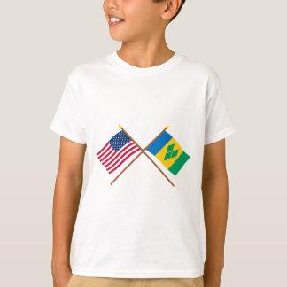Los E.E.U.U. y banderas cruzadas San Vicente Remeras