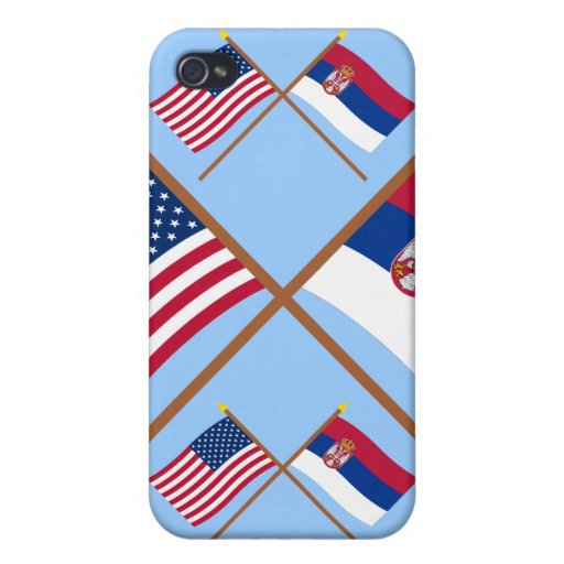 Los E.E.U.U. y banderas cruzadas Serbia iPhone 4 Carcasa