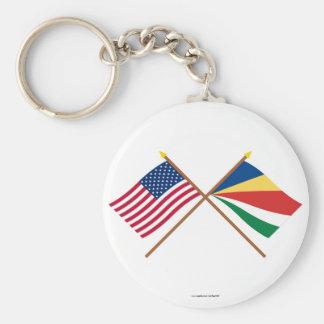 Los E.E.U.U. y banderas cruzadas Seychelles Llavero