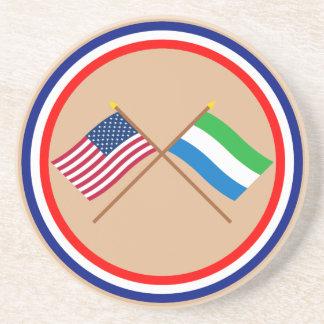 Los E.E.U.U. y banderas cruzadas Sierra Leone Posavasos Personalizados
