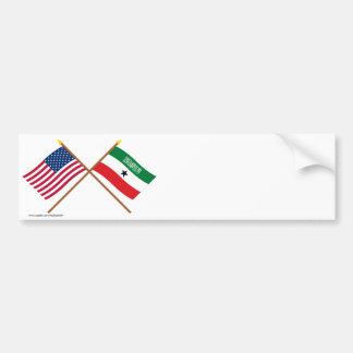 Los E.E.U.U. y banderas cruzadas Somalilandia Etiqueta De Parachoque