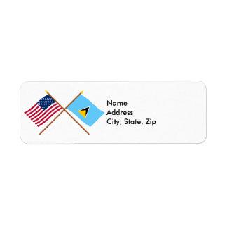 Los E.E.U.U. y banderas cruzadas St Lucia Etiquetas De Remite