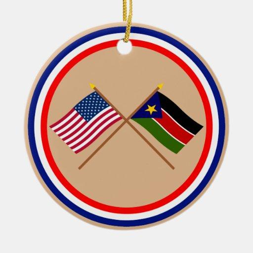 Los E.E.U.U. y banderas cruzadas Sudán meridionale Ornamente De Reyes