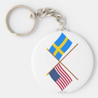 Los E.E.U.U. y banderas cruzadas Suecia Llavero Redondo Tipo Pin