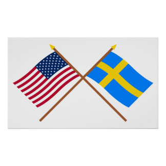 Los E.E.U.U. y banderas cruzadas Suecia Poster