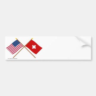 Los E E U U y banderas cruzadas Suiza Etiqueta De Parachoque