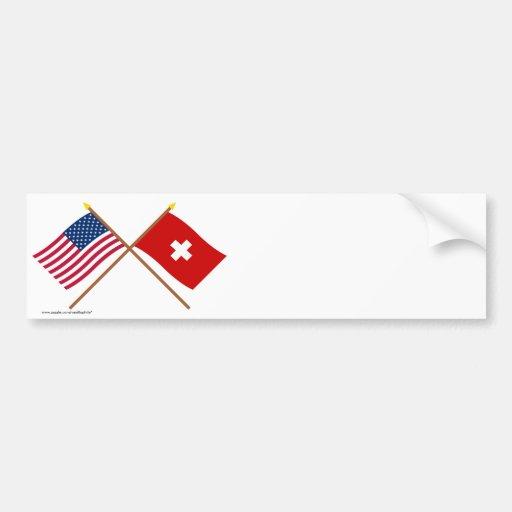 Los E.E.U.U. y banderas cruzadas Suiza Pegatina Para Auto