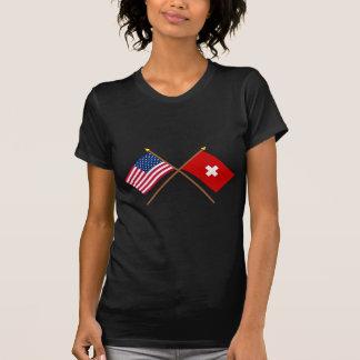 Los E.E.U.U. y banderas cruzadas Suiza Camiseta