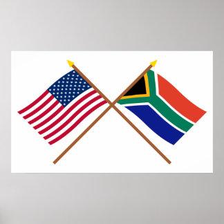 Los E.E.U.U. y banderas cruzadas Suráfrica Impresiones