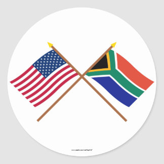 Los E.E.U.U. y banderas cruzadas Suráfrica Pegatina Redonda