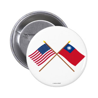 Los E.E.U.U. y banderas cruzadas Taiwán Pin