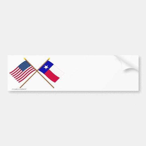 Los E.E.U.U. y banderas cruzadas Tejas Pegatina Para Auto