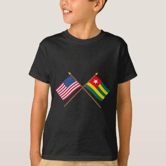 Los E.E.U.U. y banderas cruzadas Togo Playera