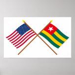 Los E.E.U.U. y banderas cruzadas Togo Posters
