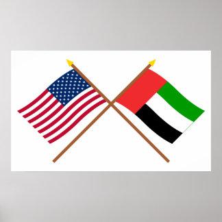 Los E.E.U.U. y banderas cruzadas United Arab Emira Poster