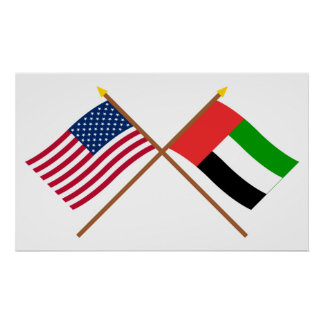 Los E.E.U.U. y banderas cruzadas United Arab Póster