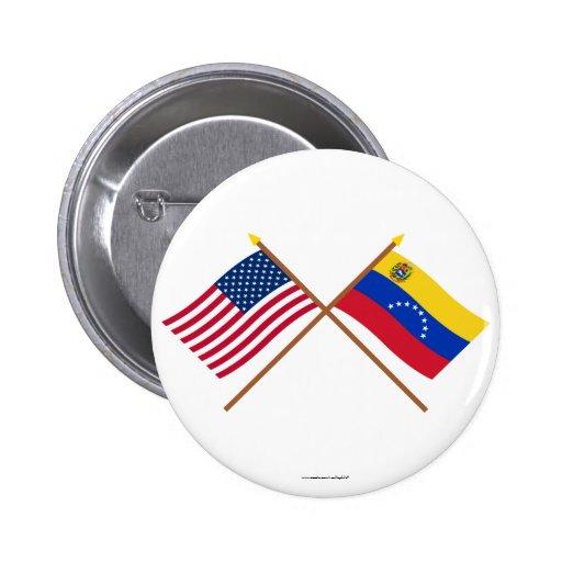 Los E.E.U.U. y banderas cruzadas Venezuela Pins