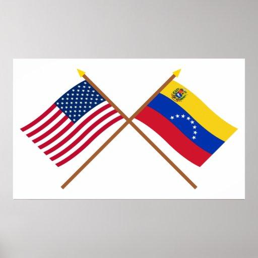 Los E.E.U.U. y banderas cruzadas Venezuela Posters