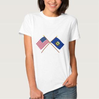 Los E.E.U.U. y banderas cruzadas Vermont Remeras