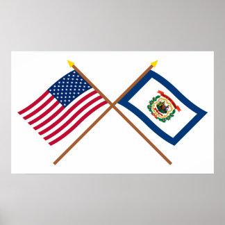 Los E.E.U.U. y banderas cruzadas Virginia Occident Posters