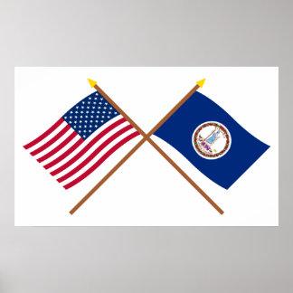 Los E.E.U.U. y banderas cruzadas Virginia Poster