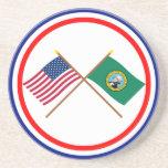Los E.E.U.U. y banderas cruzadas Washington Posavasos Para Bebidas