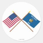 Los E.E.U.U. y banderas cruzadas Wisconsin Etiqueta Redonda