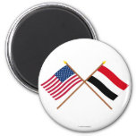 Los E.E.U.U. y banderas cruzadas Yemen Imán Para Frigorifico