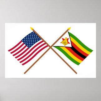 Los E.E.U.U. y banderas cruzadas Zimbabwe Póster