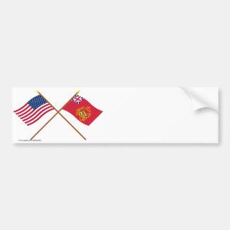 Los E.E.U.U. y banderas cruzados de Batallion del  Pegatina De Parachoque