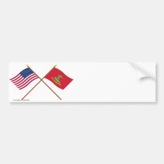 Los E.E.U.U. y banderas cruzados de Hannover Assoc Etiqueta De Parachoque