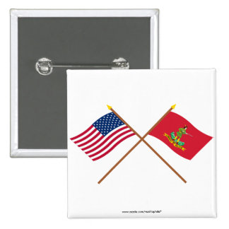 Los E.E.U.U. y banderas cruzados de Hannover Assoc Pin Cuadrada 5 Cm