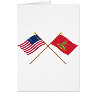Los E E U U y banderas cruzados de Hannover Assoc Tarjeton