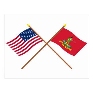 Los E.E.U.U. y banderas cruzados de Hannover Postal