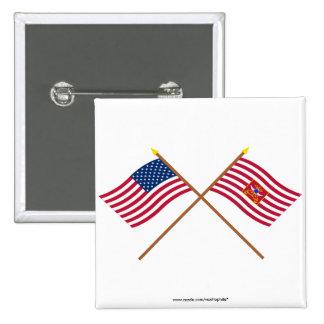 Los E.E.U.U. y banderas cruzados del caballo de Sh Pin