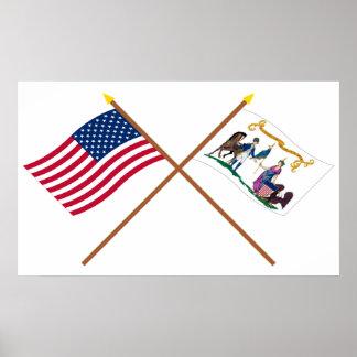Los E.E.U.U. y banderas cruzados del salvavidas de Póster