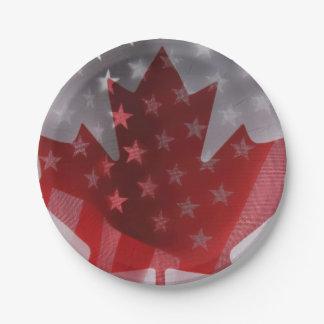 Los E.E.U.U. y banderas de Canadá Platos De Papel