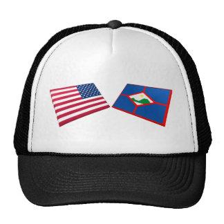 Los E.E.U.U. y banderas de Sint Eustatius Gorro