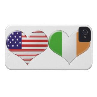 Los E.E.U.U. y banderas irlandesas del corazón iPhone 4 Cárcasas