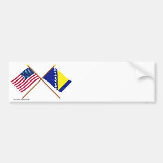 Los E.E.U.U. y Bosnia y banderas cruzadas Herzegov Pegatina Para Auto