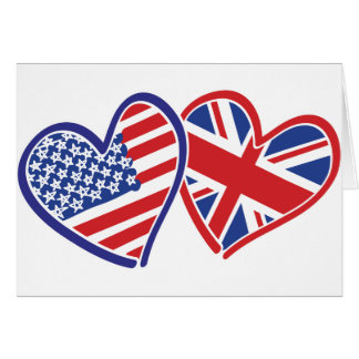 Los E.E.U.U. y corazones BRITÁNICOS de la bandera Tarjeta De Felicitación