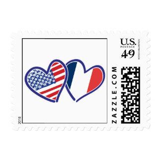 Los E.E.U.U. y corazones del amor de Francia Sello