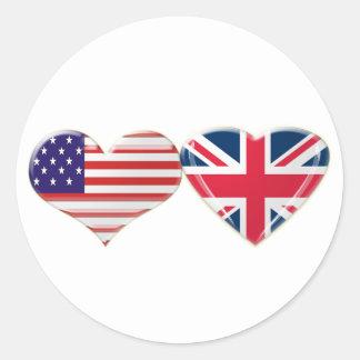 Los E.E.U.U. y diseño BRITÁNICO de la bandera del Pegatinas Redondas