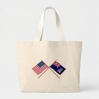 Los E.E.U.U. y Georgia del sur y banderas cruzadas Bolsa Tela Grande