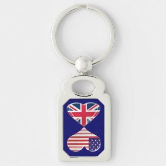 Los E.E.U.U. y llavero torcido banderas BRITÁNICAS Llavero Plateado Rectangular