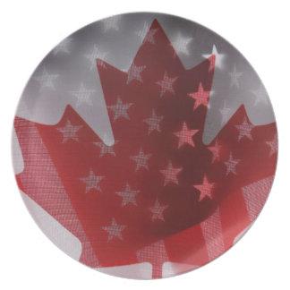 Los E.E.U.U. y placa de las banderas de Canadá Plato Para Fiesta