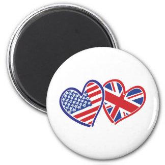 Los E.E.U.U. y Reino Unido en los corazones que mu Imán Redondo 5 Cm