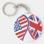 Los E.E.U.U. y Reino Unido en los corazones que mu Llavero